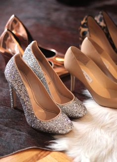Heels love, silver glitter heels perfect for a night out or a holiday party, nude heels practically for any occasion, gold heels & cheetah print heels
