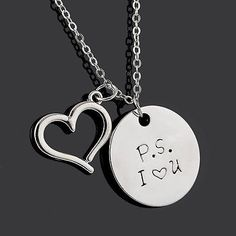 Simple Necklace Fashion Men/Women Jewelry Gift P.S I LOVE YOU Pendants HOT Sale
