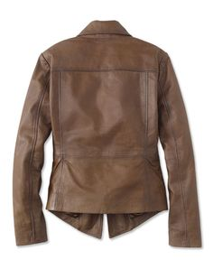 """Sumptuous lamb leather is softly washed for a luxurious look and feel in our striking open-front jacket. Beautifully seamed for an elegant and flattering shape. Wide spread collar and lapels drape to an open-front silhouette. Fully lined to slide easily on and off. In brown. Leather jacket; polyester lining. Professionally clean. Imported.  <br />Sizes XS(4), S(6-8), M(10-12), L(14-16), XL(18-20); about 25"""" long."""