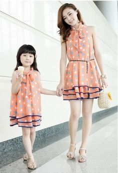 6f5d43352a7 New 2015 Mom and Daughter Dresses with chiffon Long Summer fashion Dresses  Family Beach Dress Chiffon Girls   Women Dress. Matching Outfits