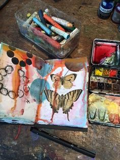 I'm working into one of Laura's handmade, printed sketchbooks right now. I've been using all my favourite birds, moths and butterflies as inspiration and really enjoying finding homes for them amongst the existing colour and pattern Laura created on each page.