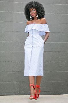 Dotted Off Shoulder Dress