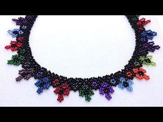 Seed Bead Jewelry, Beaded Jewelry, Beaded Bracelets, Seed Beads, Beaded Necklace Patterns, Beading Patterns, Crochet Necklace, Necklace Tutorial, Ring Tutorial