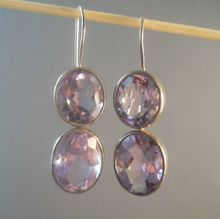Vintage Sterling Double Amethyst Earrings Huge from Suzy's Timeless Treasures on Ruby Lane