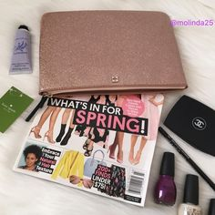 FINAL PRICE Kate Spade Mavis street clutch 100% Authentic Kate Spade Mavis Street Rose Gold Glitter Clutch. My iPad mini fits perfectly in this cute clutch. Material: PVC.  No trades or PP Note: lip gloss, lip stick, mascara, nail polish & iPad mini is Not included.  PRICE FIRM  kate spade Bags Clutches & Wristlets