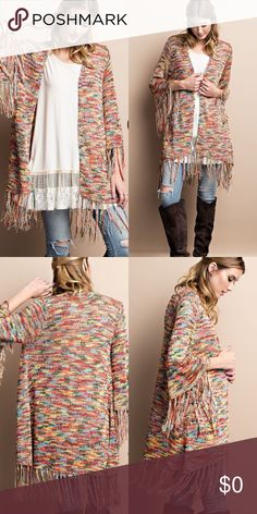 Multi Color Glitter Cardigan Knit open sweater cardigan with sequence and fringe detailing. Summer Cardigan, Sweater Cardigan, Plus Fashion, Womens Fashion, Fashion Tips, Fashion Trends, Fall Weather, Summer 2016, Sweaters For Women