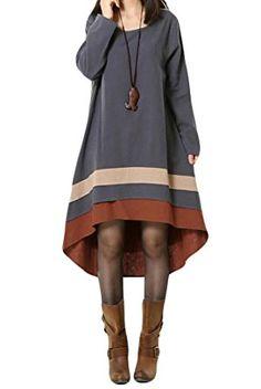 Mordenmiss женщин с длинным рукавом платье осень Одежда с Привет-Low Hem