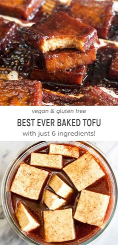 This 6 ingredient Best Ever Baked Tofu is jam packed with savory & sweet flavor! Learn how to make even tofu haters into lovers with this recipe. Made with a sweet and salty marinade of gluten free soy sauce, maple syrup, garlic powder, and onion powder. Whole Food Recipes, Cooking Recipes, Recipes With Tofu, Cooking Tips, Jar Recipes, Freezer Recipes, Freezer Cooking, Drink Recipes, Recipies