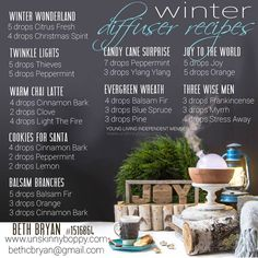 Young Living essential oil winter diffuser recipes-- These make my house smell like the Holidays!