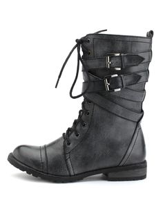 BELT-WRAPPED GRUNGE BOOT $40.00
