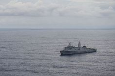 The amphibious transport dock ship USS Green Bay (LPD 20) transits the South China Sea.