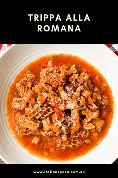 Our recipe for Trippa alla Romana (Roman-style tripe) is a must try with a spicy. Tripe Recipes, Meat Recipes, Gourmet Recipes, Healthy Recipes, Tripe Soup, Menudo Recipe, Italian Meats, Romano Cheese, Italian Foods