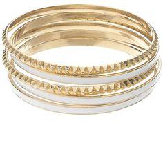 Jennifer Lopez Spike Bangle Bracelet Set (White) (12 CAD) ❤ liked on Polyvore featuring jewelry, bracelets, accessories, white, bracelets & bangles, cicret bracelet, white bangle, metal bracelet and spike bracelet