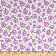 Riley Blake Lovey Dovey Flannel Roses Purple from @fabricdotcom  Designed by Doodlebug Designs for Riley Blake, this single napped (brushed on face side only) cotton flannel fabric is perfect for quilting, apparel, crafts, and home decor items. Colors include pink, green, and shades of purple.