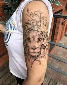 Female Lion Tattoo, Lion Tattoo On Thigh, Lion Shoulder Tattoo, Lion Tattoo Sleeves, Lion Head Tattoos, Lion Woman Tattoo, Lion Tattoo With Flowers, Lion Flower, Shoulder Tattoos For Women
