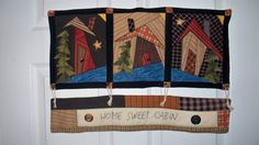 HOME SWEET CABIN 21 X 14 primitive quilted folk by quiltingcafe, $75.00
