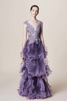 Avant-garde Purple Gown by  Marchesa Resort 2017 collection.