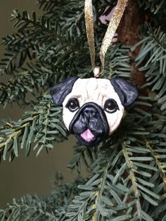 Pug puppy ~ Handmade Polymer Clay Ornament - sloppychops. This little pug puppy is sculptured from