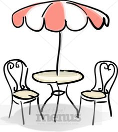These simple wrought-iron items - two chairs, a table, and an umbrella - sit empty in the sun. The umbrella is striped with red and white in panels radiating out from the center. The chairs feature heart-shaped curves. Cafe Tables, Cafe Chairs, Ikea Chairs, Dining Chairs, Desk Chairs, Room Chairs, Bistro Chairs, Office Chairs, French Cafe
