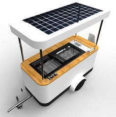 IJS solar ice cream cart (Love this sweet innovation! Food Cart Design, Food Truck Design, Mobile Food Cart, Mobile Bar, Coffee Carts, Coffee Truck, Food Box, Bike Cart, Bike Food