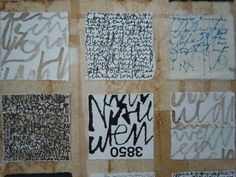calligraphy pieces mounted to background (real writing, or just mark-making?)