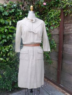 Vintage Cream Day Dress. Mad Men 60's by sailorpinkvintage on Etsy, $62.00
