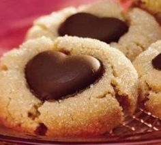 Dove heart chocolates on peanut butter cookies for Valentine's day.