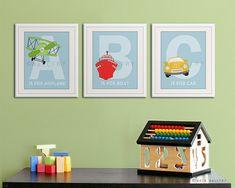 Alphabet transportation art. Nursery prints for boys. by Wallfry, $37.00