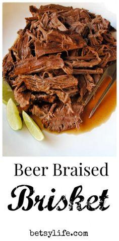 Beer Braised Beef Brisket recipe. Dinner or game day snack.
