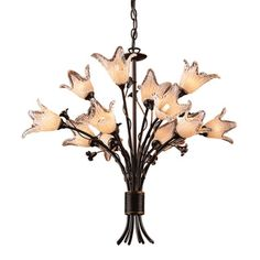 Fioritura 12-light Aged Bronze/ Hand-blown Tulip Glass Chandelier