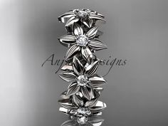 14kt white gold diamond leaf and vine wedding ring, engagement ring, wedding band ADLR18B  This is gorgeous leaf pattern ring. It has 9VS-SI/G