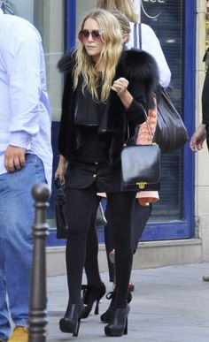Olsen twins. Cute jacket with fur detail - rock chic/electric chic inspiration.