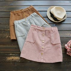 3 colors--front Single-breasted was thin pocket corduroy solid skirt mori girl autumn Business Casual Outfits, Cute Casual Outfits, Summer Outfits, Cute Skirts, Mini Skirts, Skirt Fashion, Fashion Outfits, Gothic Fashion, Stylish Clothes