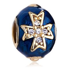 Charms Beads - silver purple faberge egg clear crystal flower gold plated beads charms bracelets fit all brands Image.