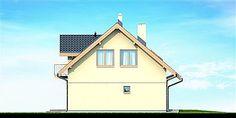 Elewacja lewa projektu Armanda Mała Malaga, Outdoor Structures, Cabin, House Styles, Home Decor, Decoration Home, Room Decor, Cabins, Cottage