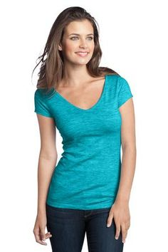 Buy the District - Juniors Extreme Heather Cap Sleeve V-Neck Tee Style DT2001 from SweatShirtStation.com, on sale now for $10.99 #aquamarine #heather #extreme #district