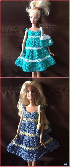 Crochet Barbie Two Colour Sundress and Bag Free Pattern - Crochet Barbie Fashion Doll Clothes Outfits Free Patterns #fashiondolls,