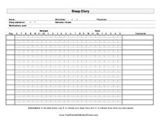 A printable sleep journal on which an adult can keep track of hours and times slept. Useful for sleep apnea, insomnia, and other conditions. Free to download and print