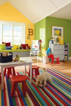 primary colored painted playroom
