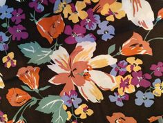 Vintage 1960s Liberty of London multicolor floral silk scarf with tan-orange border