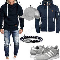 Bequems Herren-Outfit in Dunkelblau und Hellgrau (m0880) #armband #adidas #kapuzenpullover #cap #djinns #outfit #style #herrenmode #männermode #fashion #menswear #herren #männer #mode #menstyle #mensfashion #menswear #inspiration #cloth #ootd #herrenoutfit #männeroutfit