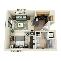 studio apartment - Google Search - perfect!! BUT I'd want maybe for it to be 2 rooms with a small bathroom between them for Jaxon (& a sibling if it should be in the plans :)