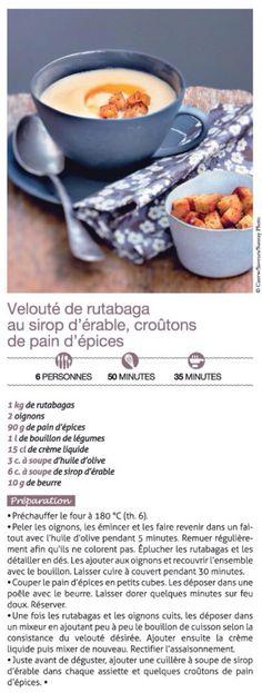 Velouté de rutabaga au sirop d'érable et croûtons de pain d'épices