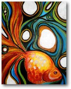Pescados de la cinta pintura de acrílico por IngridHydeStudios
