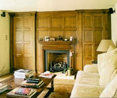 17th century-style panelled wall with hidden media cupboard, by Martin Oakley. For more inspiration, visit www.thehousedirectory.com Tongue And Groove, Panelling, 17th Century, Apartment Ideas, Cupboard, Oakley, Living Room, Wall, Inspiration