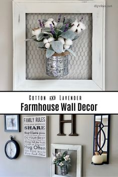 Adding chicken wire to a frame creates an adorable backdrop for this lavender and cotton farmhouse wall decor arrangement. Learn how easy it is to make one yourself. Decor Around Tv, Farmhouse Decor Living Room, Wall Decor Arrangements, Arrow Decor, Farmhouse Diy, Wall Printables, Farmhouse Wall Decor Diy, Diy Decor, Farmhouse Wall Decor