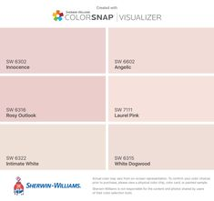 I found these colors with ColorSnap® Visualizer for iPhone by Sherwin-Williams: Innocence (SW Rosy Outlook (SW Intimate White (SW Angelic (SW Laurel Pink (SW White Dogwood (SW