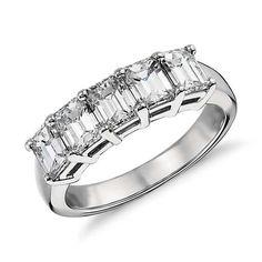 Classic Emerald Cut Five Stone Diamond Ring in Platinum (2 ct. tw.)