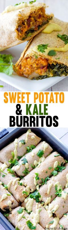 Make-ahead Kale and Sweet Potato Burritos are a healthy, tasty and flavorful meal! Freeze ahead for easy lunches all week long. #Vegan #GlutenFree.