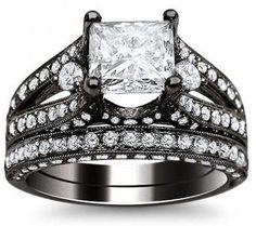 3.20ct Princess Cut Diamond Engagement Ring Bridal Set 18k Black Gold / Front Jewelers